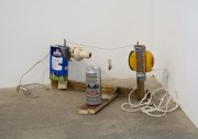 Untitled, 2007, 2 hair dryers, beer can with hair, tea bag, milk carton and wood, 32 x 70 x 40cm. Courtesy Regen Projects, Los Angeles