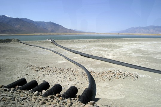Infrastructure designed to irrigate salt grass on Owens lake. Photograph by Steve Rowell