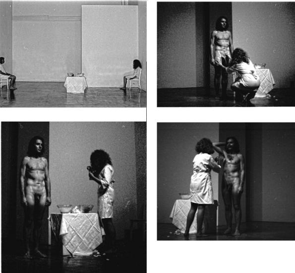 Nancy Buchanan and Bob Walker, Hair Transplant, 1972, performance. F Space Gallery in conjunction with 'The New Art in Orange County,' Newport Harbor Art Museum, Newport Beach, California (Photographs: Barbara T. Smith and Boris Sojka)